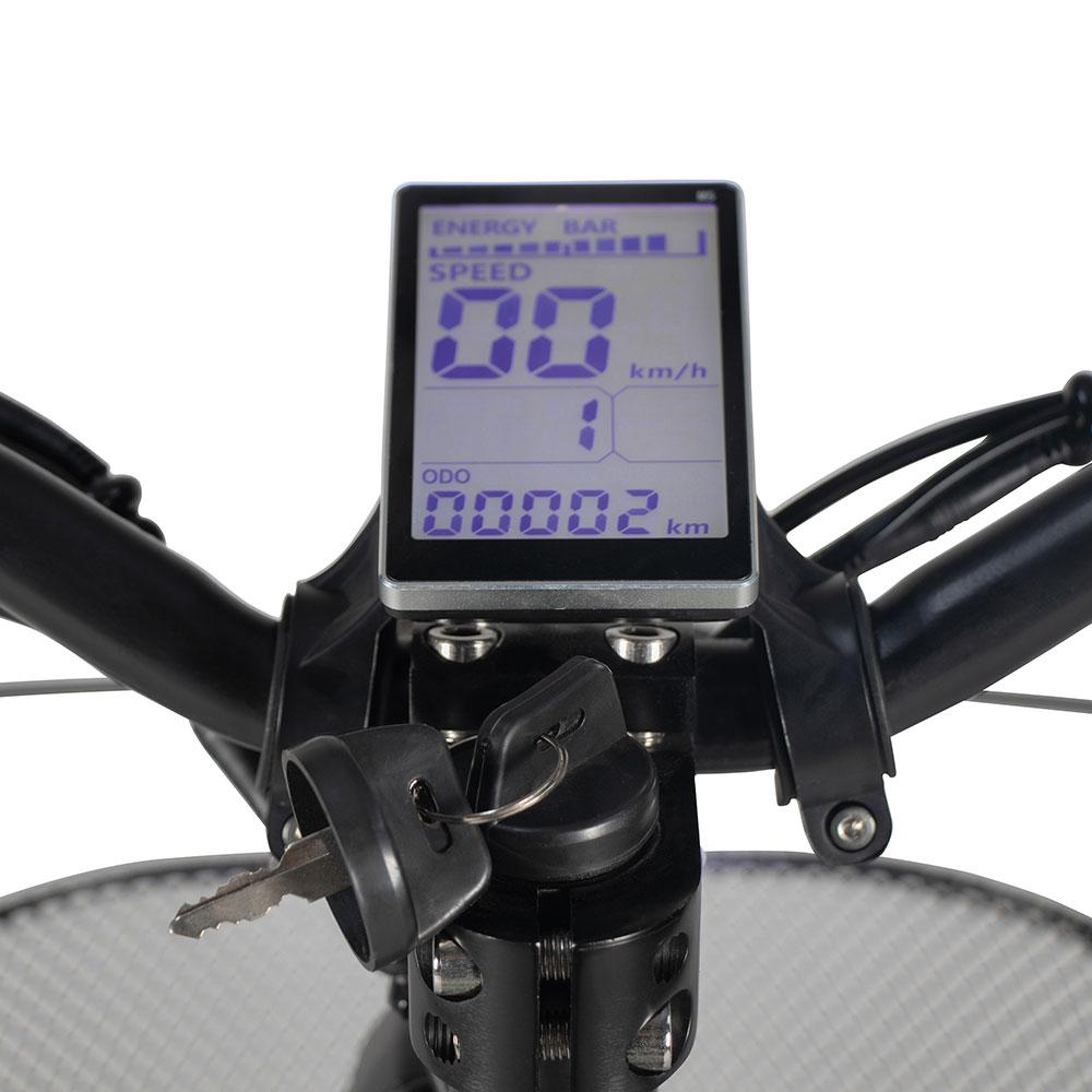 LCD-Multifunktionsdisplay mit Tachometer, Ladestandsanzeige und Fahrtlicht-Kontrollleuchte des Elektrorollers