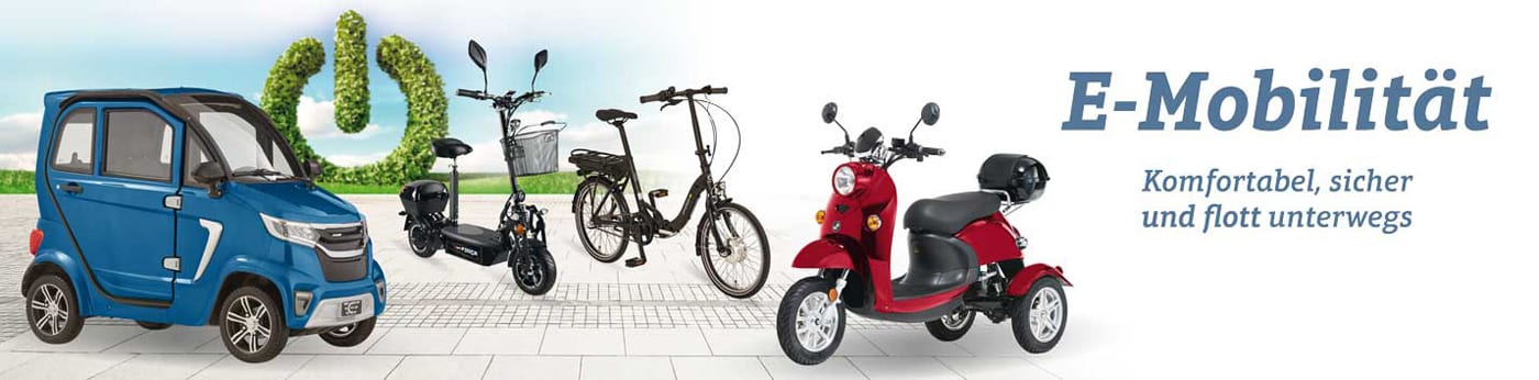 Dank Elektromobilen, E-Bikes und E-Scootern mobil bleiben