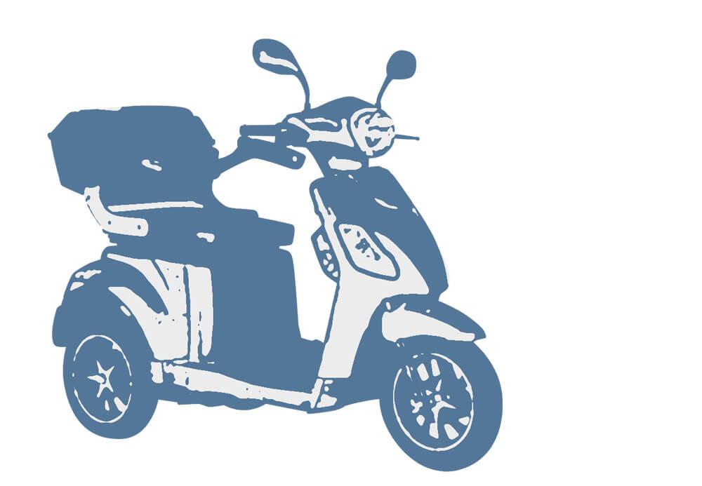 Skizze eines Elektromobils, auf dem die übliche Form zu erkennen ist