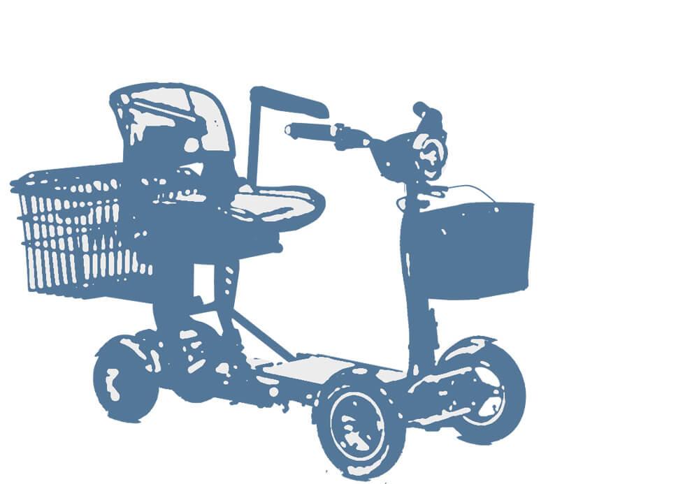 Skizze eines Faltscooters, auf dem die übliche Form zu erkennen ist