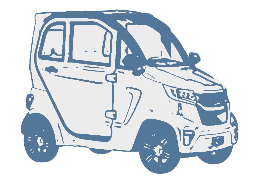 Skizze eines Kabinenfahrzeugs, auf dem die übliche Form zu erkennen ist