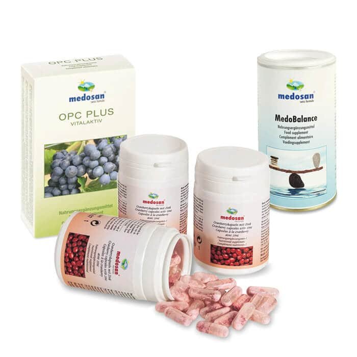 Verschiedene Nahrungsergänzungsmittel werden abgebildet, darunter OPC, Cranberry-Kapseln und eine Basenmischung.