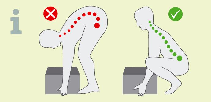 Richtiges Bücken verhindert Rückenprobleme