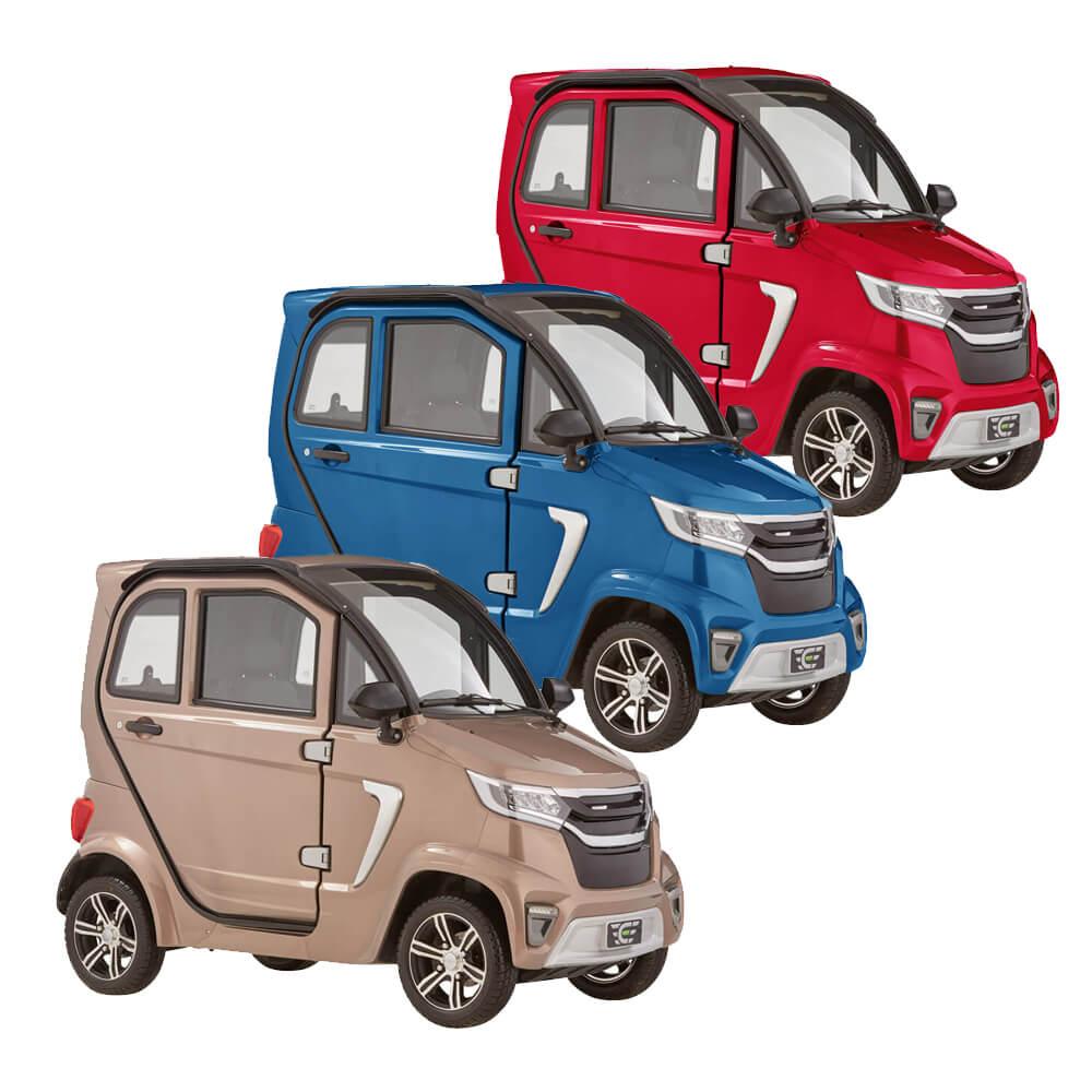 Der Kabinenroller eLazzy Premium ist in 3 weiteren Farben erhältlich: rot, blau oder terraplatinum
