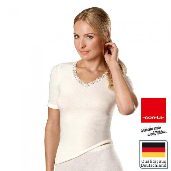 Damen Angora Shirt mit Spitze