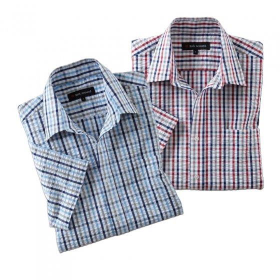 "Seersucker-Hemd  ""Oxford""  blau 3XL | Blau-kariert"