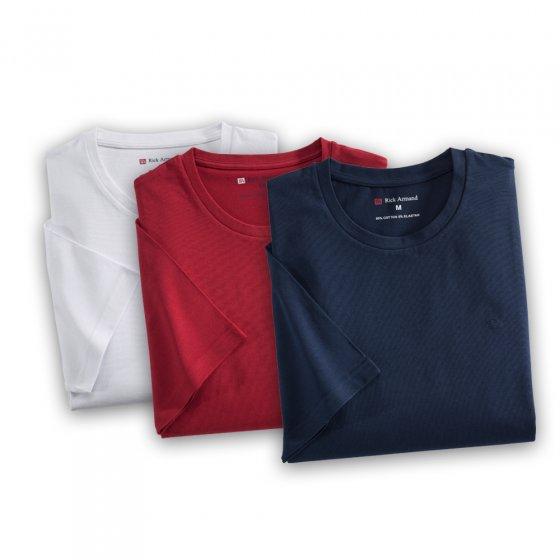 T-Shirt in Stretch-Qualität 3er-Set M   Rot#Weiß#Marine