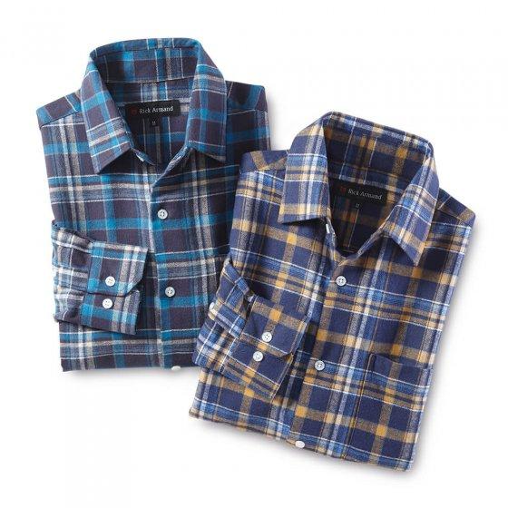 Baumwoll-Flanellhemd,beige/bla L | Beige-Blaukariert