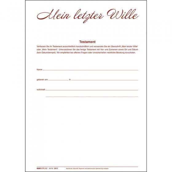 """Mappe """"Mein letzter Wille"""""""